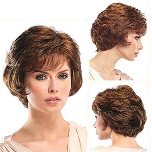 Kurz Lockig Perücke Welle Braun Haar Hitze Beständig Perücken Natürlich Sie suchen zum Mittleren Alters Frau mit Perücke Kappe, 001