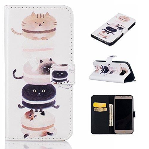 Preisvergleich Produktbild für Galaxy S6 PU Wallet Case Schutz Hülle für Samsung Galaxy S6 - Cover Flip Tasche mit Kartenfach in Buch Stil mit Kartenfach Standfunktion Magnetverschluss und Hand Wrist + Staubstecker (A8)