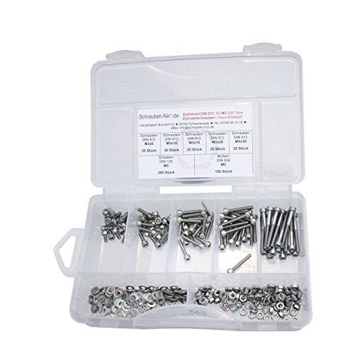 Sortiment Edelstahl V2A Zylinderschrauben innensechskant DIN 912, Muttern sechskant DIN 934 und Scheiben DIN 125, Innensechskantschrauben M3 alles in A2, VA bzw. Nirosta, 400 Teile