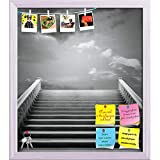 ArtzFolio Staircase With A Cloudy Sky Printed Bulletin Board Notice Pin Board cum White Framed Painting 12 x 13.7inch