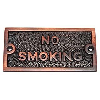 Adonai Hardware Small No Smoking Brass Door Sign - Antique Copper