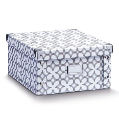 Zeller 17897 - Caja de almacenaje de cartón, 31 x 26 x 14 cm, diseño blanco retro