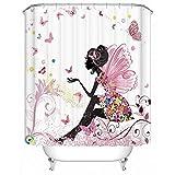 Schmetterlings-Mädchen Duschvorhang, Qile Top Qualität Anti-Schimmel & Anti-Bakteriell 3D Duschvorhänge für Bad Badezimmer 180 x 180 cm + 12 Haken