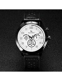 Relojes Hermosos, Correa de cuero de diseño de cuarzo reloj militar ocasional de los hombres v6 ( Color : Blanco )