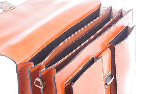 Bag Organizer Männerarbeit, Aktentasche Italienisch, Aktentasche, echtes Leder 100% Made in Italy Leder