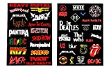 #9: PickTheGuitar Stickers For Rock/Metal Band Logos Electric/Acoustic Guitar/Laptop, etc.