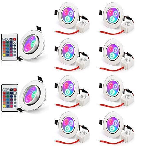 Esbaybulbs RGB Lamparas 5W Bombilla LED 16 Colores focos techo con mando,para Aplique, Lámpara de riel, Luz de techo empotrada,AC 85-265V (10 Pack)