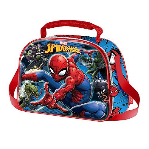 Dc comics spiderman danger - cestino porta pranzo 3d per bambini - interno termico - colore blu