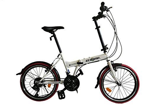 """ECOSMO 21SP 20F03W - Bicicleta de ciudad plegable, 20"""""""