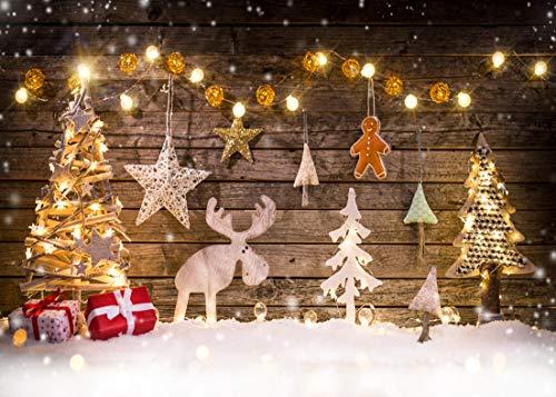 AIIKES 8x6FT/2,4x1,8M Weihnachtsbaum Hölzerne Brett Stern Rotwild Babyfotografie Hintergründe Kundengebundene Fotografische Hintergründe für Foto Studio 10-822 (6 1 2 Weihnachtsbaum)