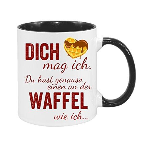 Dich mag ich. Du hast genauso einen an der Waffel wie ich… - hochwertiger Keramik-Kaffeebecher - beidseitig bedruckt - Kaffeetasse - Teetasse - Spruchtasse - Tasse mit Spruch - Fun - Geschenk (bi-color schwarz)