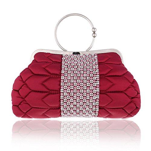 Damara® Satin Damen Kiss-Verschluss Henkeltaschen Mit Crystal Rot