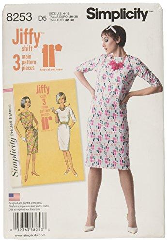 Simplicity 8253D5pour Femme Vintage 1960de Jiffy Robes Patron de Couture, Blanc, Tailles 4-6-8-10-12