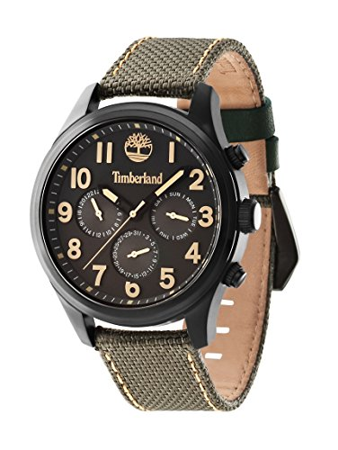 Timberland Men's Quartz Watch with Grey Dial Chronograph Display and Green Nylon Strap 14477JSB/61