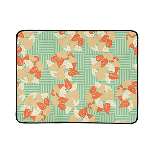 EIJODNL Heaps Fallen Leaves Arranged Portable and Foldable Blanket Mat 60x78 Inch Handy Mat for Camping Picnic Beach Indoor Outdoor Travel (Handys Heap)