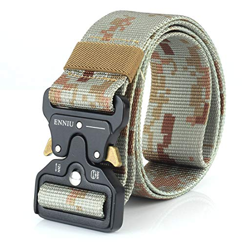 Yeying123 Tactical Belt Mens Military Nylon Waist Belt Mit Metal Buckle Adjustable Waistband Für Combat Equipment Army Training Outdoor Jagd,Camouflage2 (Combat Training-equipment)