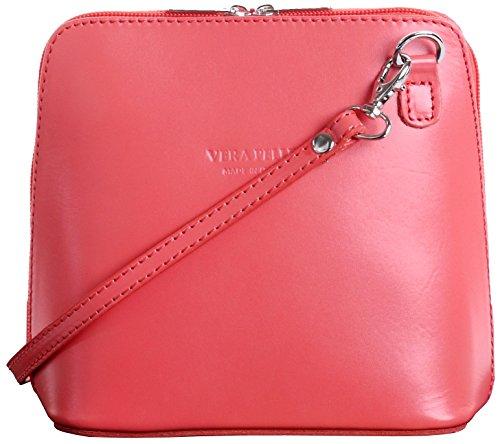 Primo Sacchi Italienisches Leder handgefertigt Orange Rosa klein/Micro Cross Umhängetasche oder Schultertasche Handtasche.Beinhaltet eine schützenden Aufbewahrungstasche gebrandmarkt. Orange Multi Leder