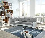 DELIFE Couch Panama Hellgrau Weiss Ottomane Links Ecksofa Modular