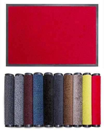 Carpet Diem Rio C Schmutzfangmatte - 5 Größen - 10 Farben Fußmatte mit äußerst starker Schmutz und Feuchtigkeitsaufnahme - Sauberlaufmatte in rot 80 x 120 cm