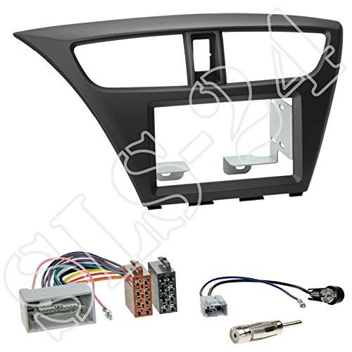 Einbauset : Autoradio Doppel-DIN 2-DIN Radioblende Radio Blende Halterung schwarz + ISO Radioanschlusskabel Radio Adapter + Antennenadapter für Honda Civic (FK1/FK2/FK3) ab 02/2012 / Honda Civic (FK2/FK3) ab 02/2014