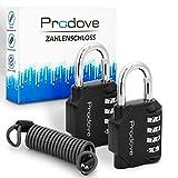 Prodove ® Zahlenschloss - [2x] Vorhängeschloss mit Drahtseil zum Sichern von größeren Gegenständen - moderne Zink-Legierung - inklusive Anleitung