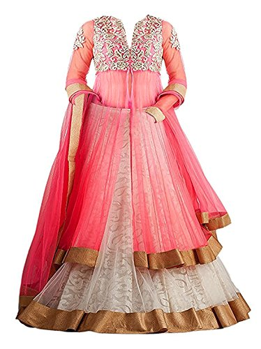 Clickedia Girls Soft Net Semi-Stitched Ethnic lehenga Suit with Duppatta (kids-pink-panther_Pink & White_Free Size)