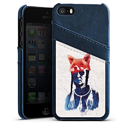 Apple iPhone 5s Housse Étui Protection Coque Renard couleurs Art Étui en cuir bleu marine