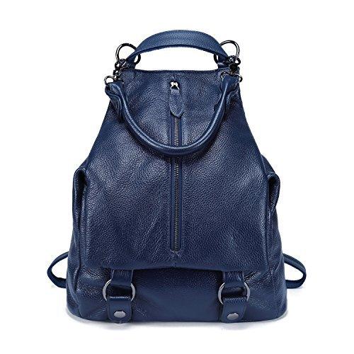 BOYATU Elegant Womens Echtleder Rucksack Schultasche Travel Umhängetasche (Royalblau) (Tasche Sattel Sling)