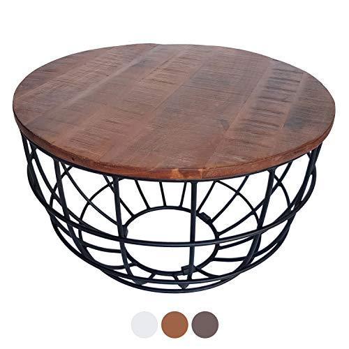 casamia Couchtisch Wohnzimmer-Tisch rund Lexington ø 60 cm, Metall-Gestell Altsilber oder schwarz Farbe braun-Bassano, 60x60cm
