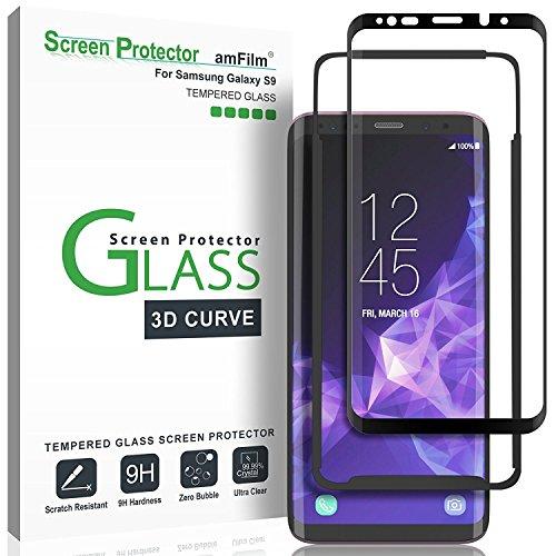 Protector de Pantalla Galaxy S9, amFilm Cobertura Total (3D Curvo) Cristal Vidrio Templado Protector de Pantalla para Samsung Galaxy S9 (1 Pack, Negro)