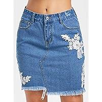 Five Pocket Lace Detail Denim Skirt