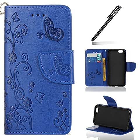 iPhone 6S Case,iPhone 6 Case,iPhone 6 6S Flip Wallet Case,Ukayfe Embossed Butterfly & Flower Painted Bling Diamond Rhinestone Shiny Premium Solid Black Color Pu Leather Wallet Magnetic Buckle Design Flip Folio Protective Case Cover with Strap Stand and Card Holder for iPhone 6/6S 4.7 inch -