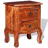 Festnight Nachtkonsole Nachttisch Nachtkommode Nachtschrank mit Schubladen aus massivem Akazienholz