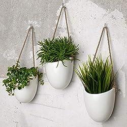 Kazai.® | Lot 3 Pots muraux en céramique Blanche