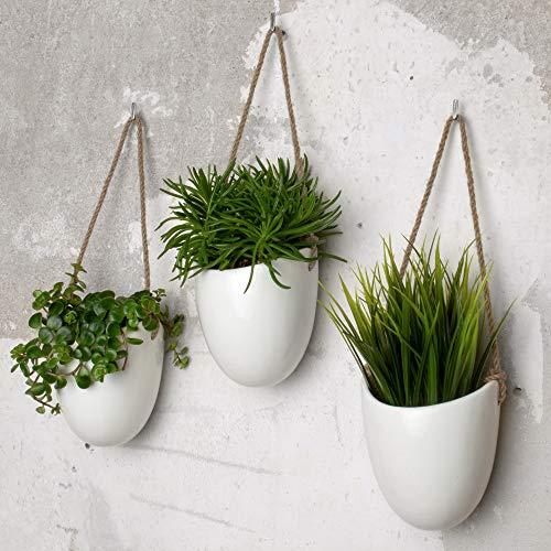 Kazai. florero colgante de cerámica | conjunto de 3 | decoración de pared (standard, bianco | brillante)