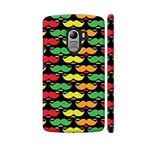 Colorpur Lenovo K4 Note Cover - Bright Multicolor Moustaches Printed Back Case