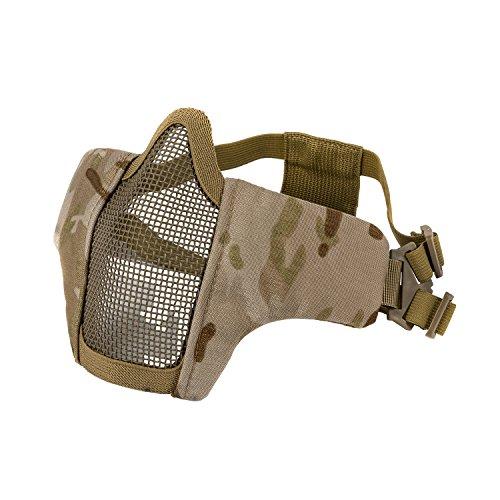 OneTigris Faltbare halbe Gesichtsschutz Maske Mesh Maske für Softair Paintball CS (Dschungel Camo) |MEHRWEG Verpackung