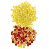 MagiDeal 500 Stück Glas Mosaiksteine zum Mosaik Basteln für Wände Deko - rot gelb