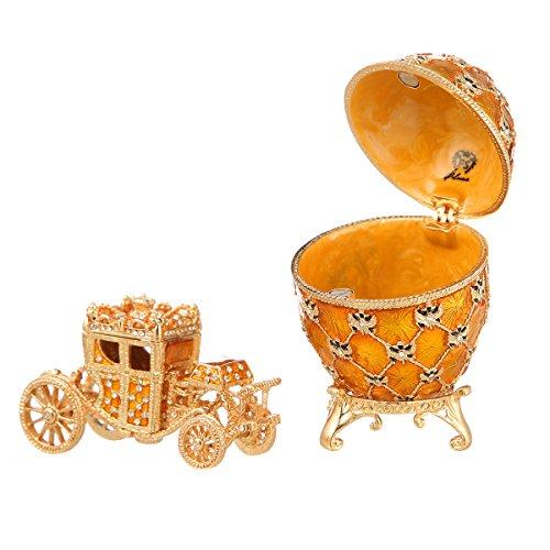 Fabergé-Stil Ei / Schmuckkästchen mit Kutsche & Doppelköpfiger Adler 9,5 cm gelb