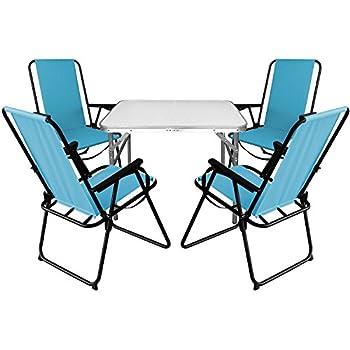 Campingmöbel Gartenmöbel Klapptisch 75x55cm 2x Campingstühle klappbar Blau