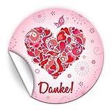 JuNa-Experten 30 Aufkleber Danke für Geschenktüten / Bei Hochzeit Geburtstag / liebevolle Sticker für Verpackung der Gastgeschenke Herz Rosa Nr. 11