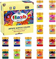 Flash Acrylic Paint Set |16 Colors | 50 ml, 1.7 fl oz Each | High Pigment Strength | Non Fading | Indoor/Outdo