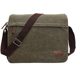 Super Modern Leinwand Messenger Bag Umhängetasche Laptop Tasche Computer Tasche Umhängetasche aus Segeltuch Tasche Arbeiten Tasche Umhängetasche für Männer und Frauen, Herren, Green Large