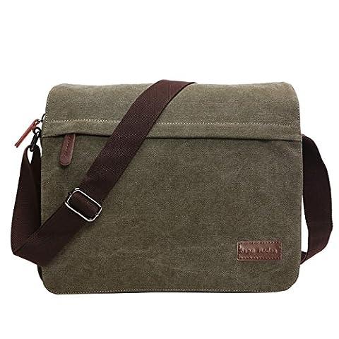 Super Modern Umhängetasche, Laptop-Tasche, Computer-Tasche, aus Segeltuch, für Männer und Frauen, Herren, Green Large