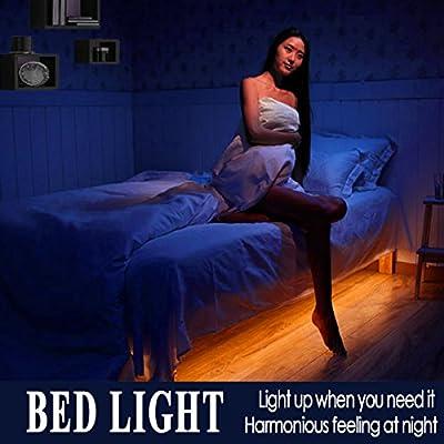 Emotionlite LED Motion Activated Bed Light Motion Sensor Night Light Led biasing Lighting Strip with Automatic Off Warm White 1600K(Under Bed Cabinet Hallway Dark Corner) - inexpensive UK light store.