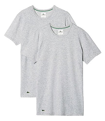 Lacoste Herren T-Shirt Unterhemden Rundausschnitt 148321 im 2er Pack grau melange