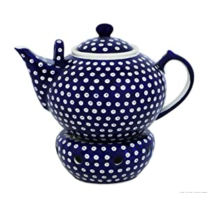 Boleslawiec Pottery Teepot 2.9 L with Warmer, Original Bunzlauer Keramik, Decor 42