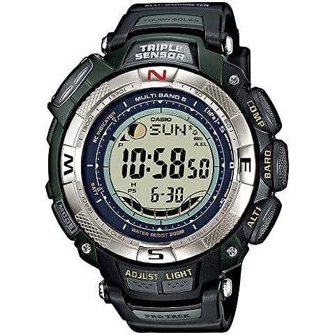 CASIO Sport Pro Trek PRW-1500-1VER - Reloj unisex de cuarzo, correa de resina color negro (con multifunción, altímetro, radio, brújula y