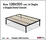 Ergorelax Rete per materasso a 14 doghe in faggio VIENNA con Doppia Barra Centrale 100% Made in Italy - 120 cm x 200 cm