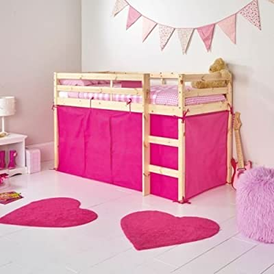 Bright Pink Tent For Shorty Mid Sleeper Bed Pink Girls Bedroom Toys Games Storage Tidy Girls Mid Sleeper Tent Pack for Bunk Bed by Chad Valley - inexpensive UK light shop.